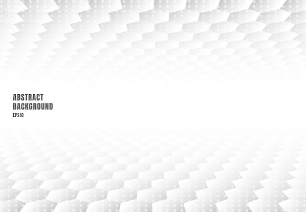 Abstracte witte zeshoeken perspectief achtergrond