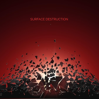 Abstracte wolk van stukjes en fragmenten na explosie. verbrijzeling en vernietigingseffect. oppervlaktesloop. illustratie