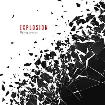 Abstracte wolk van stukjes en fragmenten na muurexplosie. verbrijzeling en vernietigingseffect. geïsoleerd op witte achtergrond
