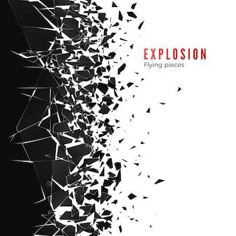 Abstracte wolk van stukjes en fragmenten na muurexplosie