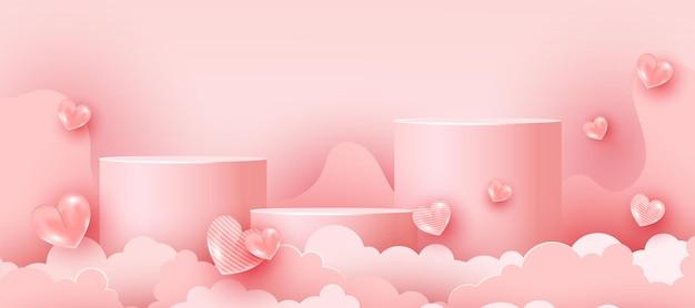 Abstracte zachte roze minimale scène met geometrische vormen. valentijnsdag 3d-hartvormen en papier gesneden wolken