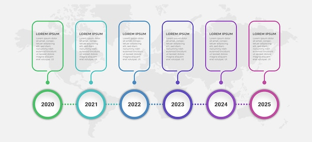 Abstracte zakelijke infographic sjabloon met 6 stappen op tijdlijndiagrammen