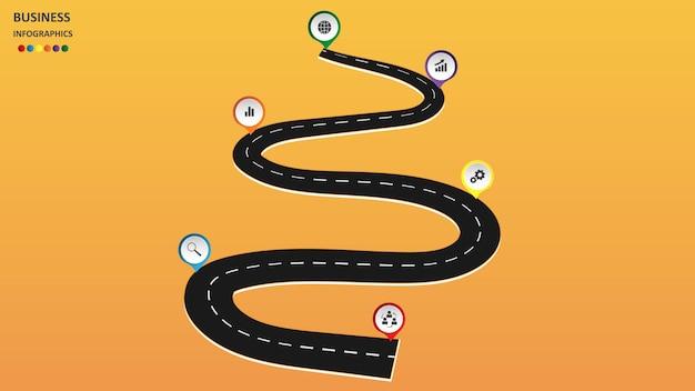 Abstracte zakelijke infographics in de vorm van een autoweg met wegmarkeringen, markeringen