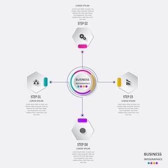 Abstracte zakelijke infographics in de vorm van gekleurde vormen met elkaar verbonden door lijnen en stappen.