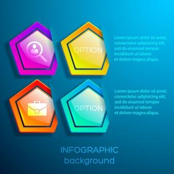 Abstracte zakelijke webinfographics met tekstpictogrammen en glanzende kleurrijke zeshoeken met geïsoleerde verborgen randen