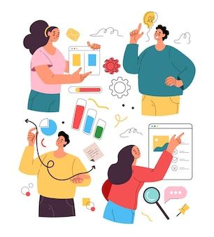 Abstracte zakenmensen man vrouw tekens geïsoleerde activiteit set en ontwikkeling zakelijk project vector plat geïsoleerde moderne stijl illustratie