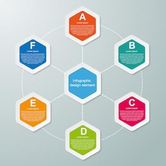 Abstracte zeshoek infographics sjabloon.