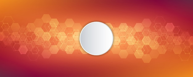 Abstracte zeshoeken met lege cirkelachtergrond