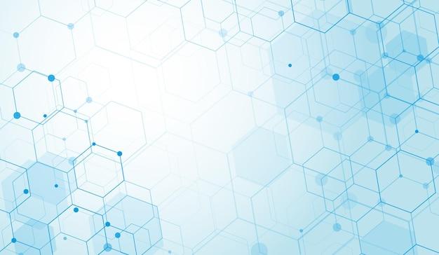 Abstracte zeshoeken technologie digitale hi-tech concept achtergrond. ruimte voor tekst