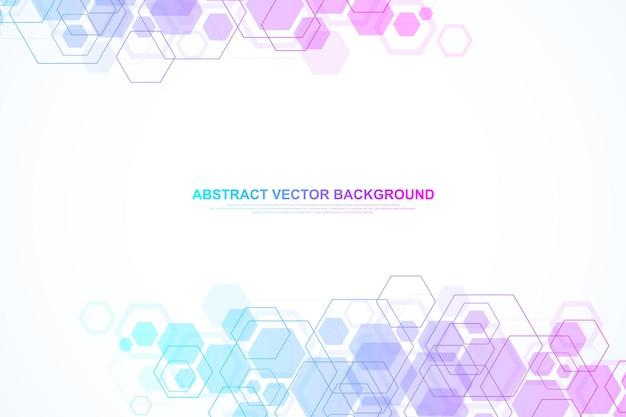 Abstracte zeshoekige achtergrond. zeshoekige moleculaire structuren. futuristische technische achtergrond in wetenschappelijke stijl. grafische hexuitdraaiachtergrond voor uw ontwerp. vector illustratie