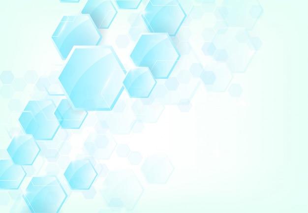 Abstracte zeshoekige moleculaire structuren in technologie