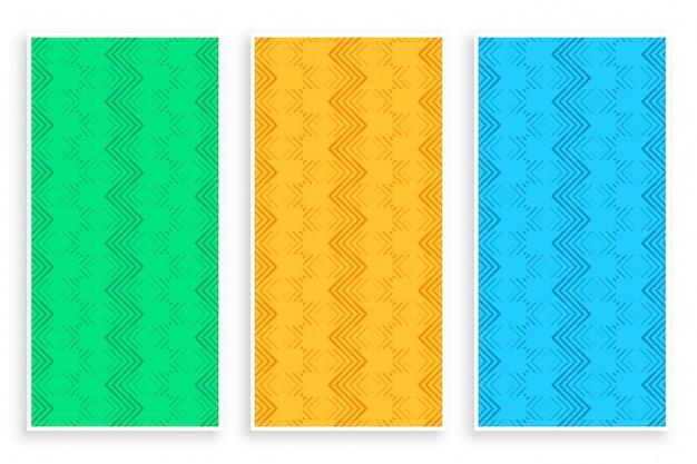 Abstracte zigzaglijn stijlvolle banner set