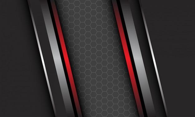 Abstracte zilver rode metalen lijn op donkergrijs met zeshoek mesh patroon lege ruimte ontwerp moderne luxe futuristische technische achtergrond