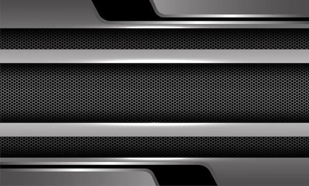 Abstracte zilver zwart metalen zeshoek mesh geometrisch ontwerp luxe futuristische achtergrond vector