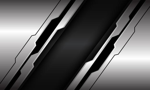 Abstracte zilver zwarte lijn circuit cyber schuine streep op donkergrijze metalen moderne luxe futuristische technische achtergrond