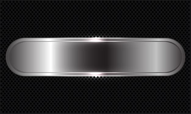 Abstracte zilveren banneroverlapping op zwarte cirkel