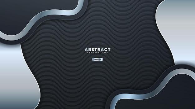 Abstracte zilveren lijn banner op donker grijs metallic curve ontwerp moderne luxe futuristische achtergrond vector illustration.suitable voor webbanner, posters, flyer, dekking, brochure