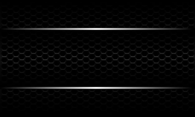 Abstracte zilveren lijn banner op zwarte zeshoek mesh patroon metallic ontwerp moderne luxe futuristische achtergrond.