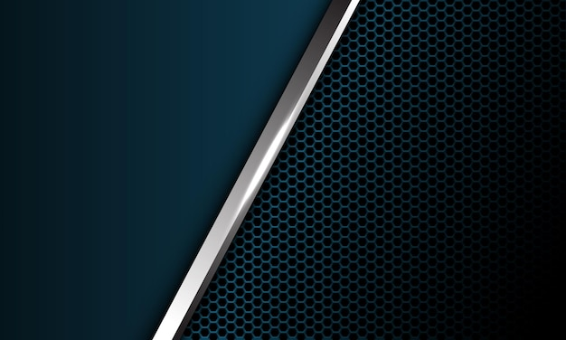 Abstracte zilveren lijn schuine streep donkerblauw metallic hexagon mesh leeg ontwerp modern luxe futuristisch