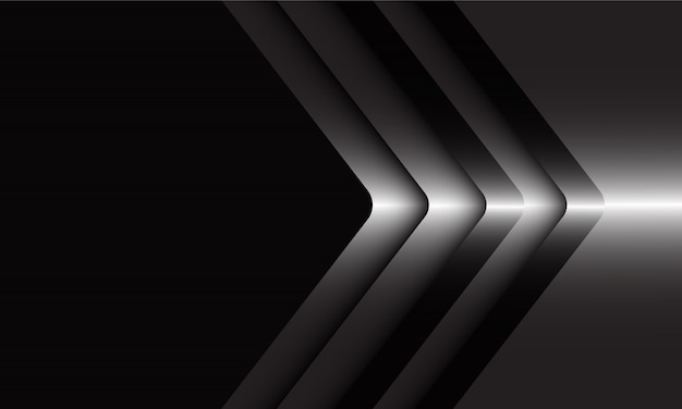 Abstracte zilveren pijlrichting op zwarte moderne luxe futuristische achtergrond.