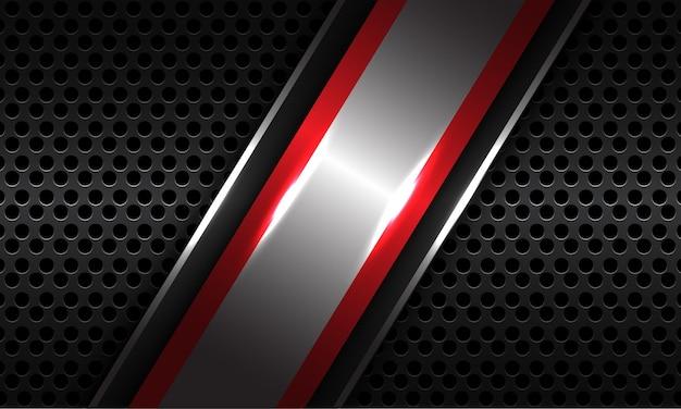 Abstracte zilveren rode lijn schuine streep overlap op donkergrijze metalen cirkel mesh moderne luxe futuristische technische achtergrond