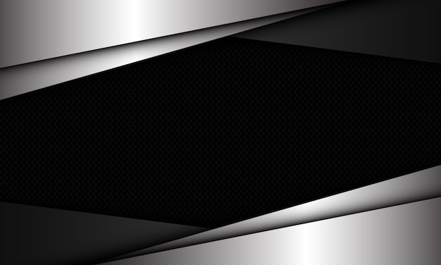 Abstracte zilvergrijze driehoeksoverlap op donkere cirkel mesh patroon lege ruimte ontwerp moderne luxe futuristische achtergrond.