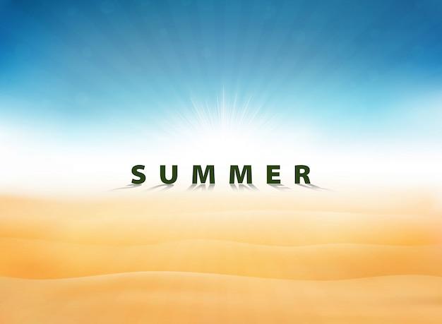 Abstracte zomer achtergrond met zon burst blauwe hemel op woestijn