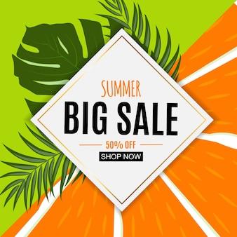 Abstracte zomer verkoop achtergrond met vers fruit.