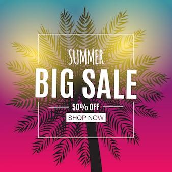 Abstracte zomer verkoop banner met palmbladeren. vector illustratie