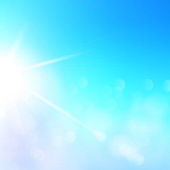 Abstracte zomer zonlicht illustratie. zonnige blauwe hemel als achtergrond met defocused lichten. speciaal zonnelens flare lichteffect.