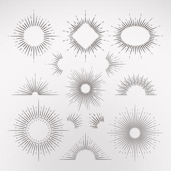 Abstracte zon burst stralen met rand