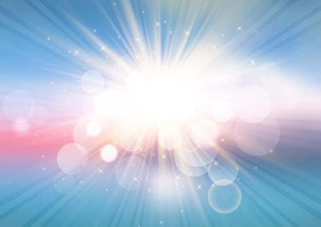Abstracte zonnestraallandschapsachtergrond met bokehlichten