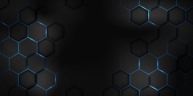 Abstracte zwart blauwe zeshoek textuur sport vectorillustratie. geometrische achtergrond. modern vormconcept.