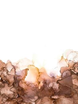 Abstracte zwart bruin en goud alcohol inkt verf marmer vloeibare kunst aquarel behang poster bruin ...
