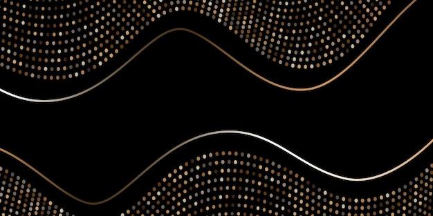 Abstracte zwarte achtergrond getextureerd met gouden halftoonpatroon