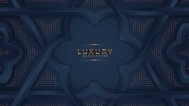 Abstracte zwarte achtergrond met een combinatie gloeiende gouden stippen met 3d-stijl.