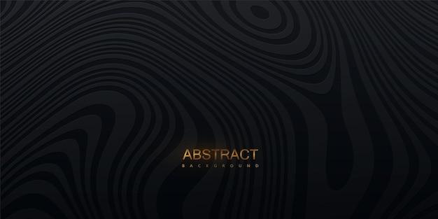Abstracte zwarte achtergrond met topografisch golvenpatroon