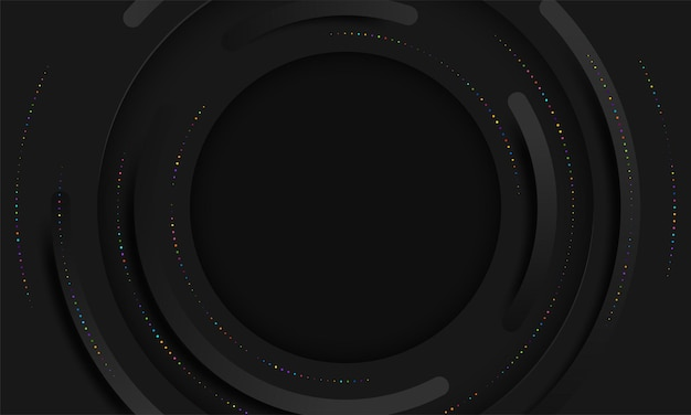 Abstracte zwarte cirkels lagen op donkere achtergrond papier gesneden