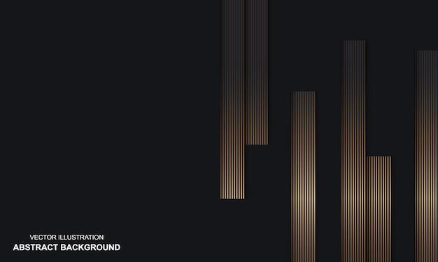 Abstracte zwarte dop als achtergrond met gouden lijnen luxe thema
