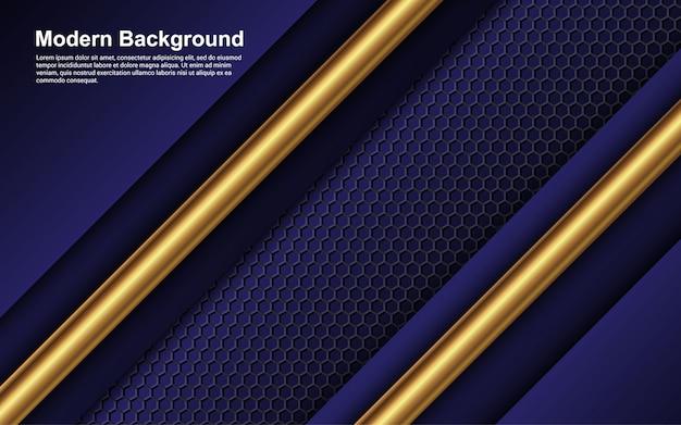 Abstracte zwarte en blauwe achtergrondkleur met gouden lijn modern