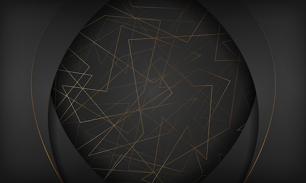 Abstracte zwarte en gouden achtergrond met veelhoekige lijn