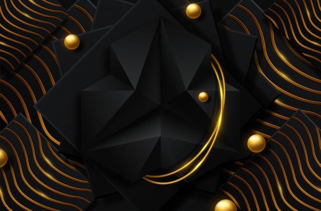 Abstracte zwarte en gouden achtergrond