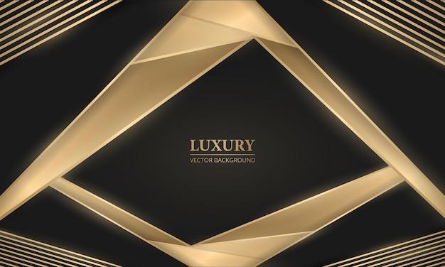 Abstracte zwarte en gouden luxeachtergrond met geometrische gouden lijnen en vormen
