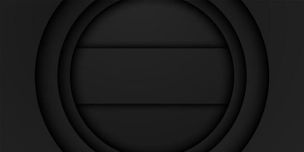 Abstracte zwarte frame achtergrond circulaire overlap laag met rechthoek binnen donker minimaal ontwerp