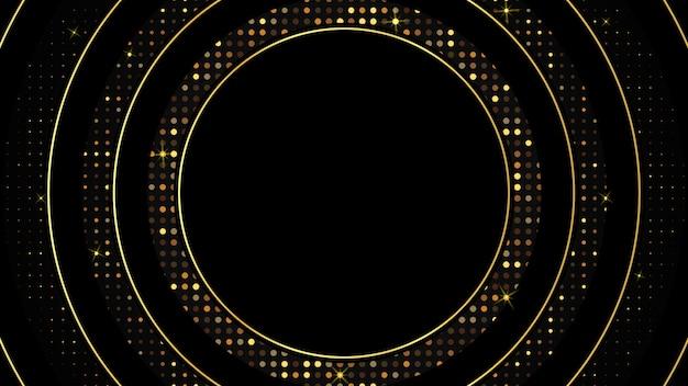Abstracte zwarte luxe achtergrond van donker goud papier cirkel en gouden schittering, elegante premium, cover lay-out sjabloon