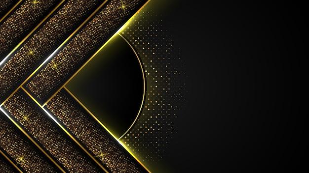 Abstracte zwarte luxe achtergrond van donkere gouden lijn en sprankeling, elegante premium, cover lay-out sjabloon