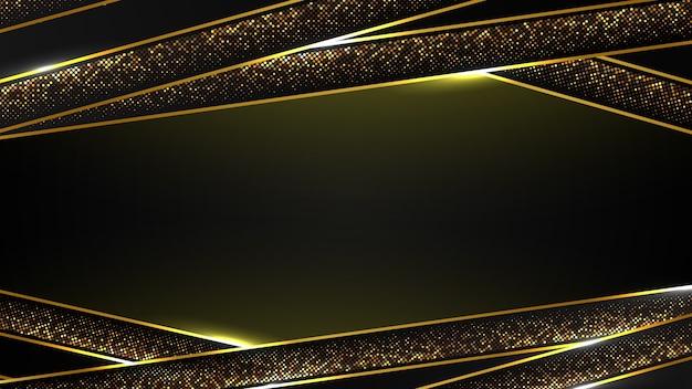 Abstracte zwarte luxe achtergrond van moderne donker gouden curve lijn en gouden fonkeling, elegant