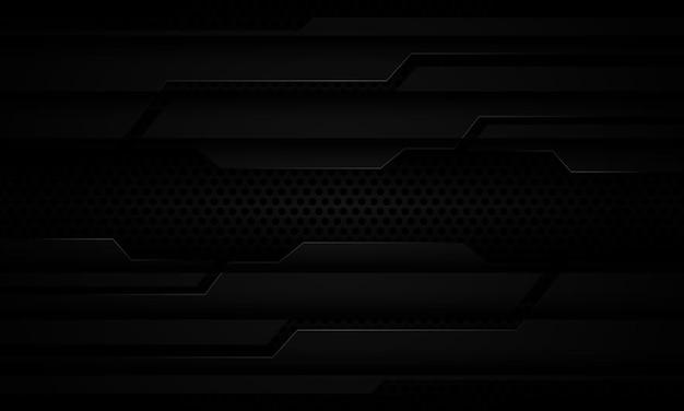 Abstracte zwarte metalen cyber schaduw op donkere cirkel mesh moderne futuristische technische achtergrond