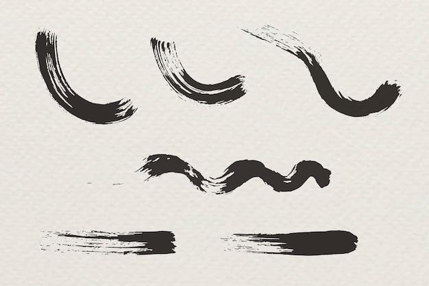 Abstracte zwarte penseelstreek set