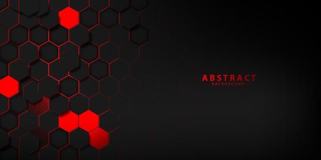 Abstracte zwarte rode zeshoek textuur sport vectorillustratie. geometrische achtergrond. modern vormconcept.
